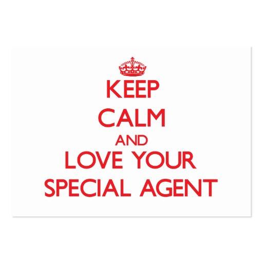Gardez le calme et aimez votre agent spécial cartes de visite personnelles