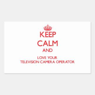 Gardez le calme et aimez votre opérateur de caméra autocollants en rectangle