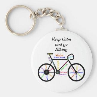 Gardez le calme et allez faire du vélo, avec des porte-clé rond