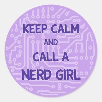 Gardez le calme et appelez un autocollant nerd de