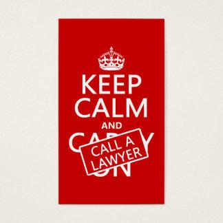 Gardez le calme et appelez un avocat (dans toute cartes de visite