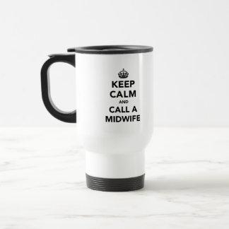 Gardez le calme et appelez une sage-femme mug de voyage en acier inoxydable