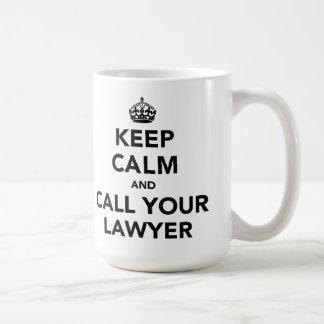 Gardez le calme et appelez votre avocat mug blanc