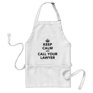 Gardez le calme et appelez votre avocat tablier