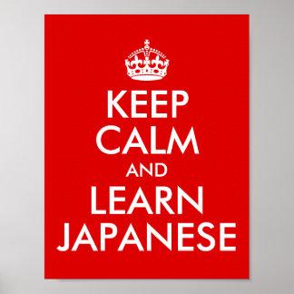 Gardez le calme et apprenez le japonais poster