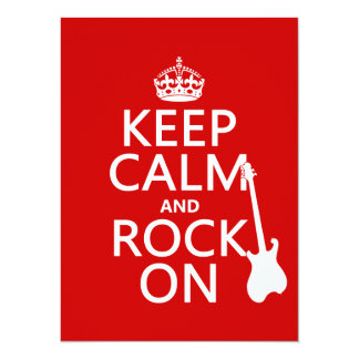 Gardez le calme et basculez sur (guitare) (toute carton d'invitation  13,97 cm x 19,05 cm
