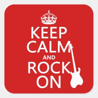 Gardez le calme et basculez sur (guitare) (toute sticker carré