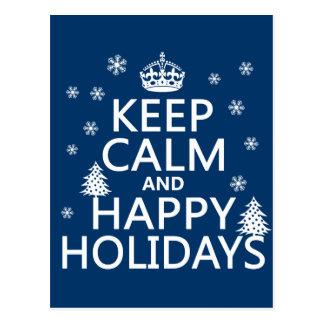 Gardez le calme et bonnes fêtes carte postale