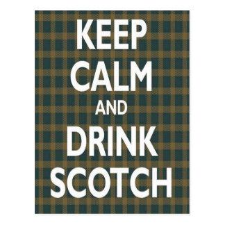 Gardez le calme et buvez écossais cartes postales