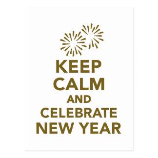 Gardez le calme et célébrez la nouvelle année carte postale