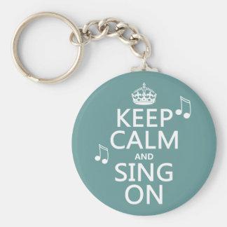 Gardez le calme et chantez dessus - toutes les cou porte-clé rond
