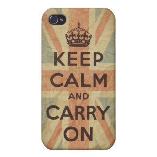 Gardez le calme et continuez avec le drapeau BRITA iPhone 4 Case