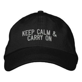 Gardez le calme et continuez le casquette casquette brodée