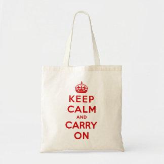 gardez le calme et continuez l'original sac de toile