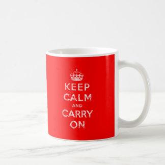 Gardez le calme et continuez mug blanc