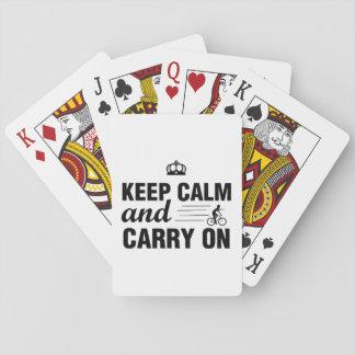 Gardez le calme et continuez pour des cyclistes cartes à jouer