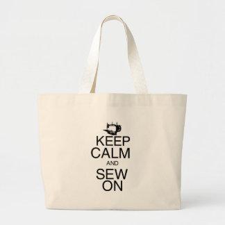 Gardez le calme et cousez dessus sacs en toile