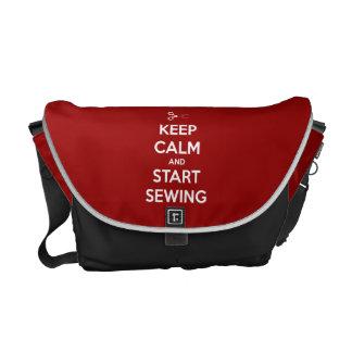 Gardez le calme et cousez sur le rouge sacoches