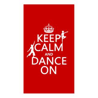 Gardez le calme et dansez sur (dans toutes les cou cartes de visite personnelles