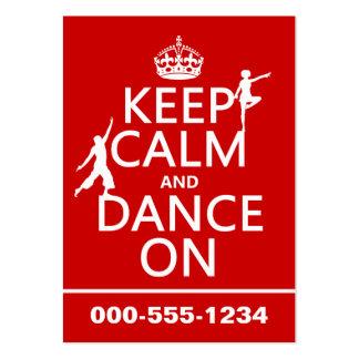 Gardez le calme et dansez sur (dans toutes les cou carte de visite grand format