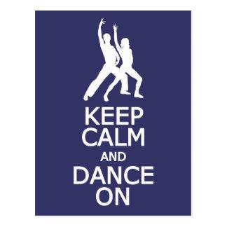 Gardez le calme et dansez sur la carte postale