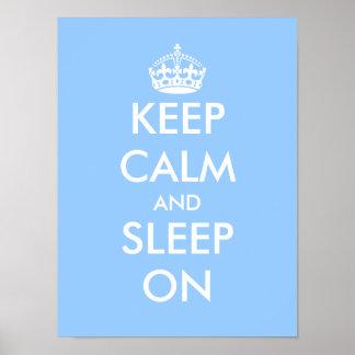 Gardez le calme et dormez sur l'affiche de crèche