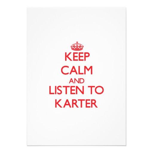 Gardez le calme et écoutez Karter Faire-parts
