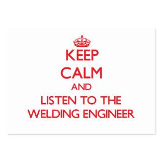 Gardez le calme et écoutez l ingénieur de soudure cartes de visite professionnelles