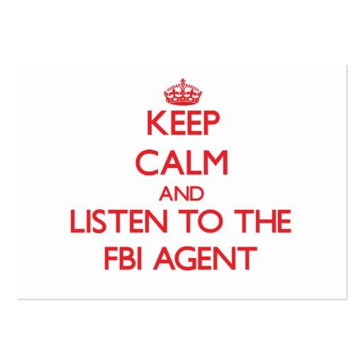 Gardez le calme et écoutez l'agent du FBI Cartes De Visite Professionnelles