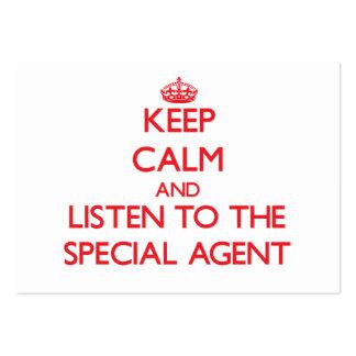 Gardez le calme et écoutez l'agent spécial carte de visite grand format