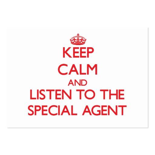 Gardez le calme et écoutez l'agent spécial modèles de cartes de visite