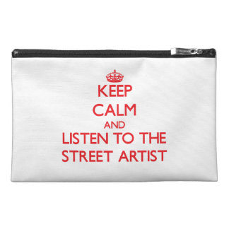 Gardez le calme et écoutez l'artiste de rue trousse à accessoires de voyage