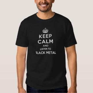 Gardez le calme et écoutez le métal noir t-shirts