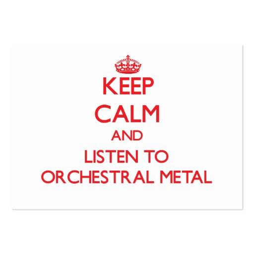Gardez le calme et écoutez le MÉTAL ORCHESTRAL Modèles De Cartes De Visite