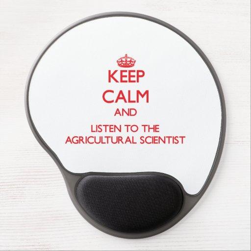 Gardez le calme et écoutez le scientifique agricol tapis de souris en gel