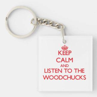 Gardez le calme et écoutez les marmottes d'Amériqu Porte-clé Carré En Acrylique Une Face