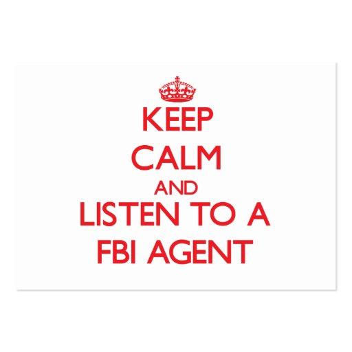 Gardez le calme et écoutez un agent du FBI Carte De Visite