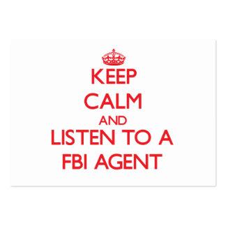 Gardez le calme et écoutez un agent du FBI Carte De Visite Grand Format