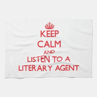 Gardez le calme et écoutez un agent littéraire linges de cuisine