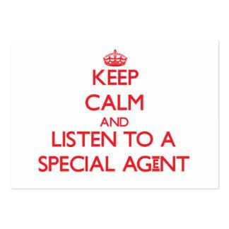 Gardez le calme et écoutez un agent spécial cartes de visite professionnelles