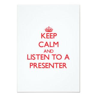 Gardez le calme et écoutez un présentateur bristol