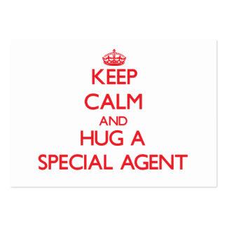 Gardez le calme et étreignez un agent spécial carte de visite grand format
