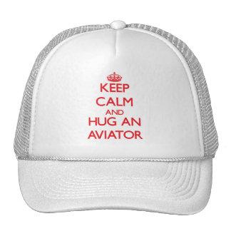 Gardez le calme et étreignez un aviateur casquettes de camionneur