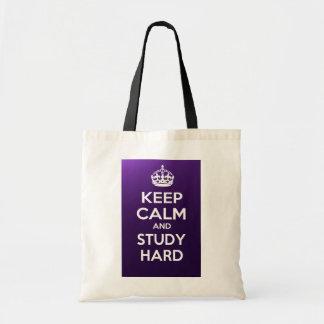 Gardez le calme et étudiez dur sacs de toile
