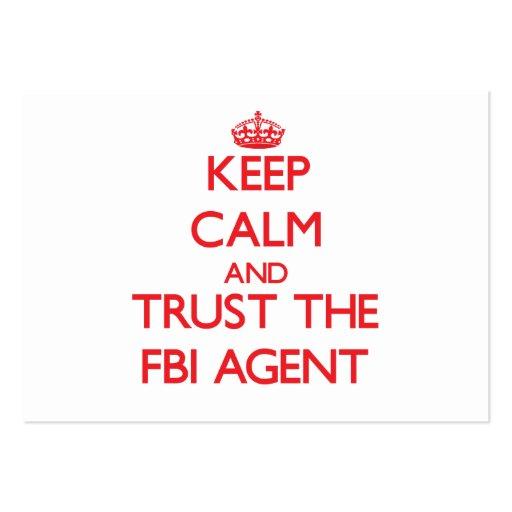 Gardez le calme et faites confiance à l'agent du F Modèles De Cartes De Visite