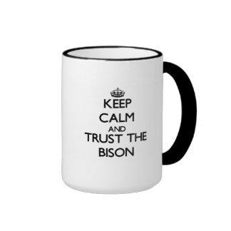 Gardez le calme et faites confiance au bison mug ringer