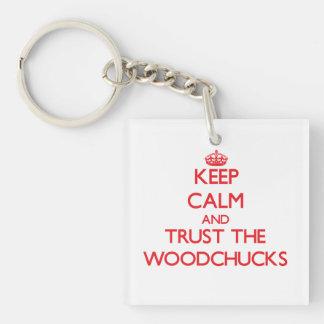 Gardez le calme et faites confiance aux marmottes porte-clé carré en acrylique double face