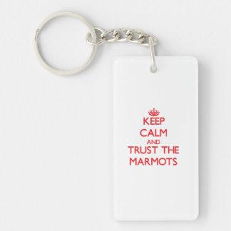 Gardez le calme et faites confiance aux marmottes porte-clé  rectangulaire en acrylique une face
