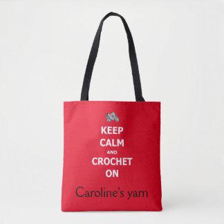 Gardez le calme et faites du crochet dessus - avec tote bag