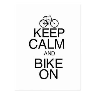 Gardez le calme et faites du vélo dessus cartes postales